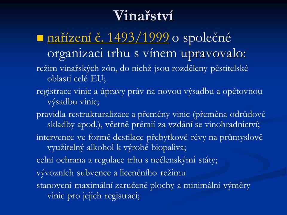 Vinařství nařízení č. 1493/1999 o společné organizaci trhu s vínem upravovalo: