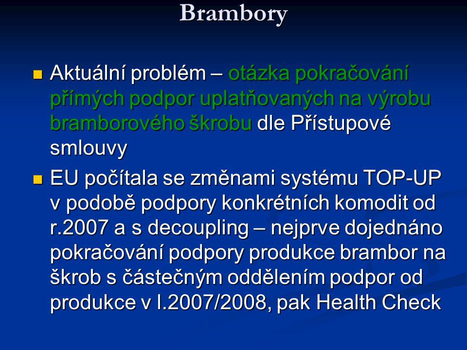 Brambory Aktuální problém – otázka pokračování přímých podpor uplatňovaných na výrobu bramborového škrobu dle Přístupové smlouvy.