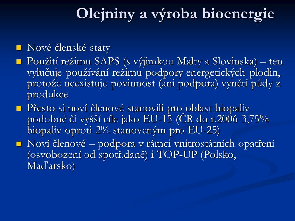 Olejniny a výroba bioenergie