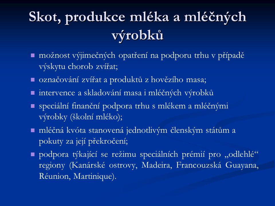 Skot, produkce mléka a mléčných výrobků