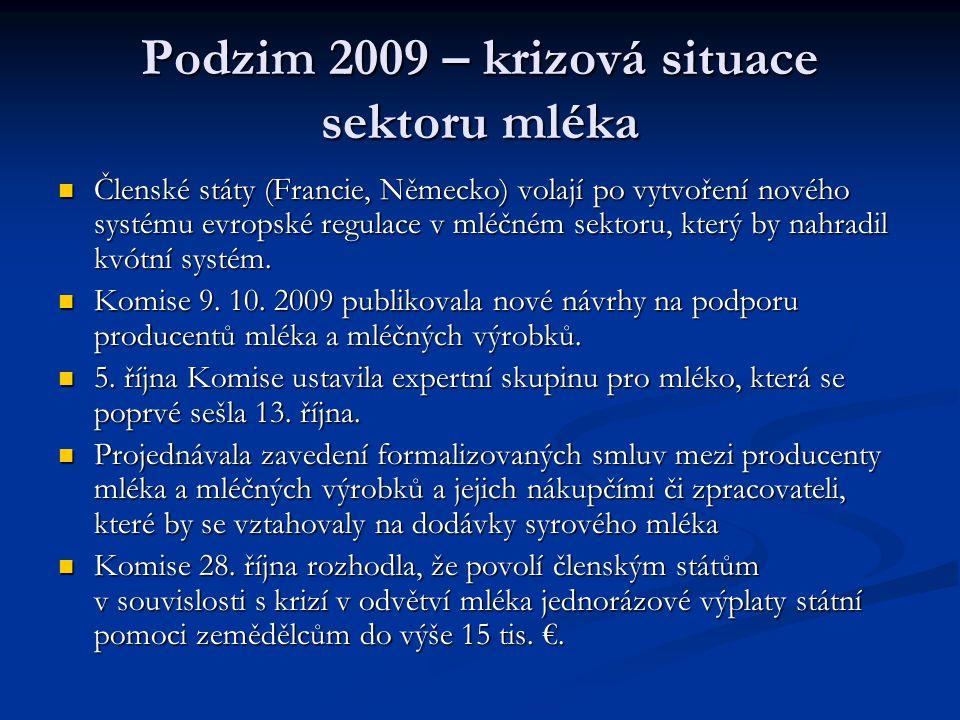 Podzim 2009 – krizová situace sektoru mléka