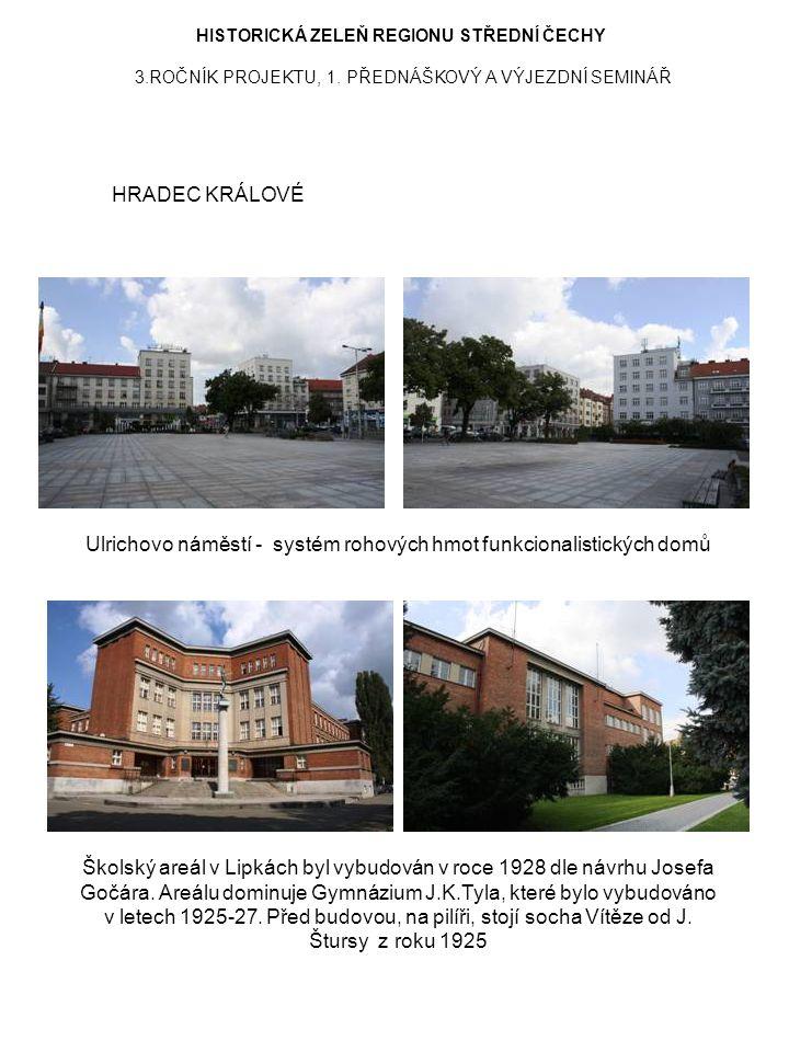 Ulrichovo náměstí - systém rohových hmot funkcionalistických domů