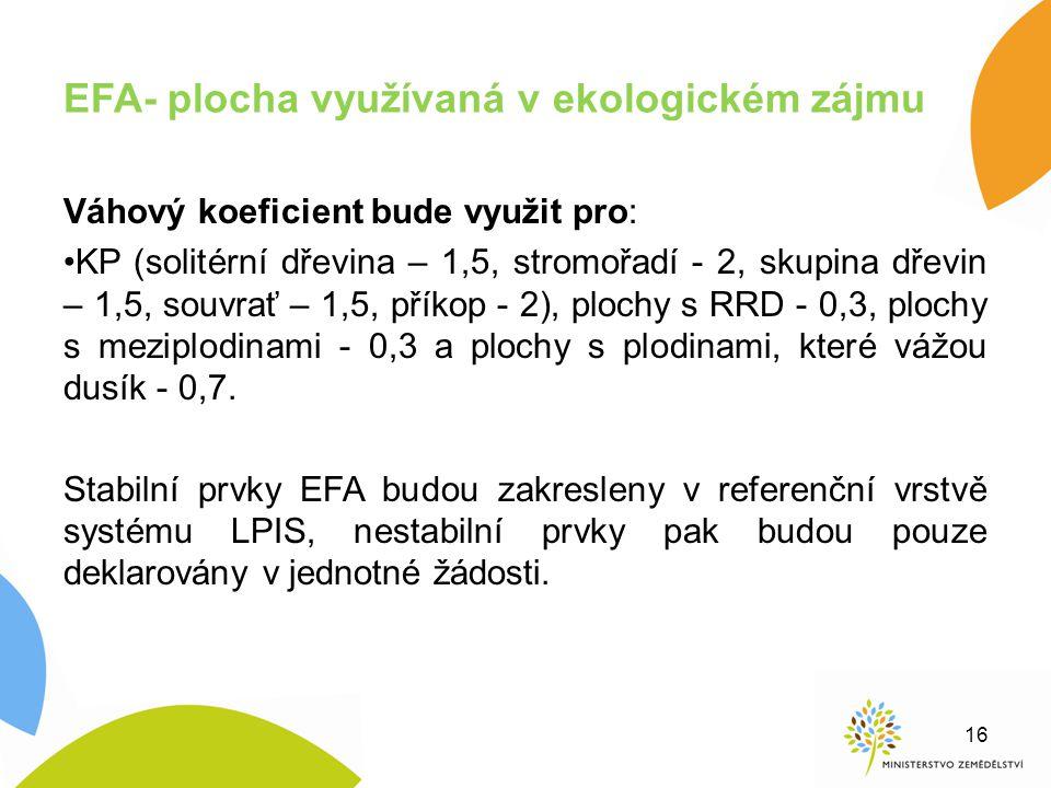 EFA- plocha využívaná v ekologickém zájmu