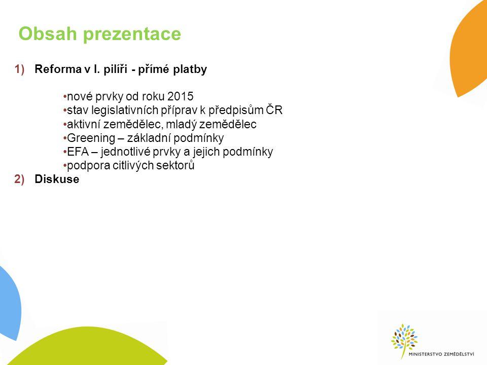 Obsah prezentace Reforma v I. pilíři - přímé platby