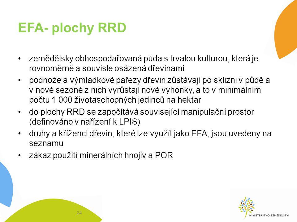 EFA- plochy RRD zemědělsky obhospodařovaná půda s trvalou kulturou, která je rovnoměrně a souvisle osázená dřevinami.