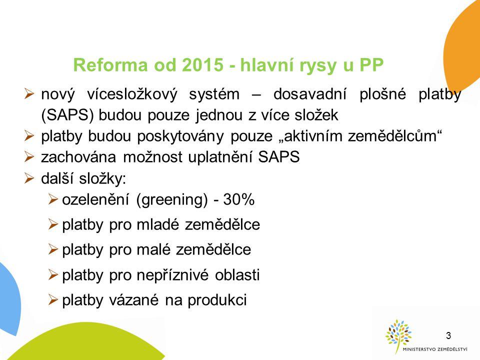 Reforma od 2015 - hlavní rysy u PP