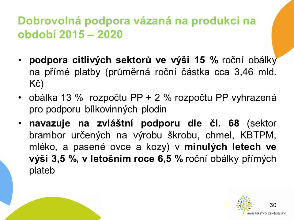 Dobrovolná podpora vázaná na produkci na období 2015 – 2020