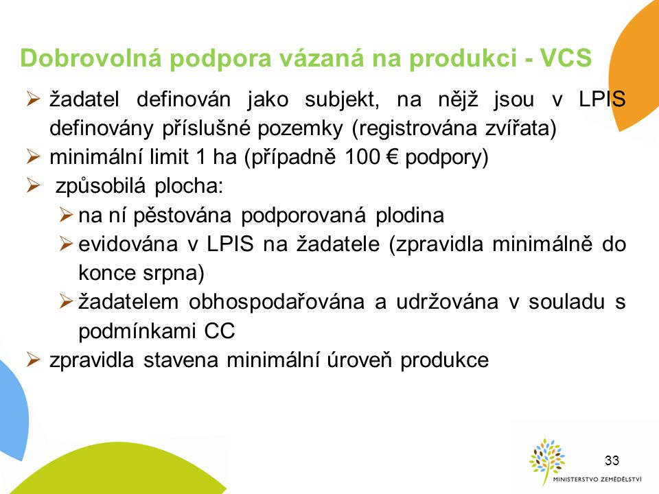 Dobrovolná podpora vázaná na produkci - VCS