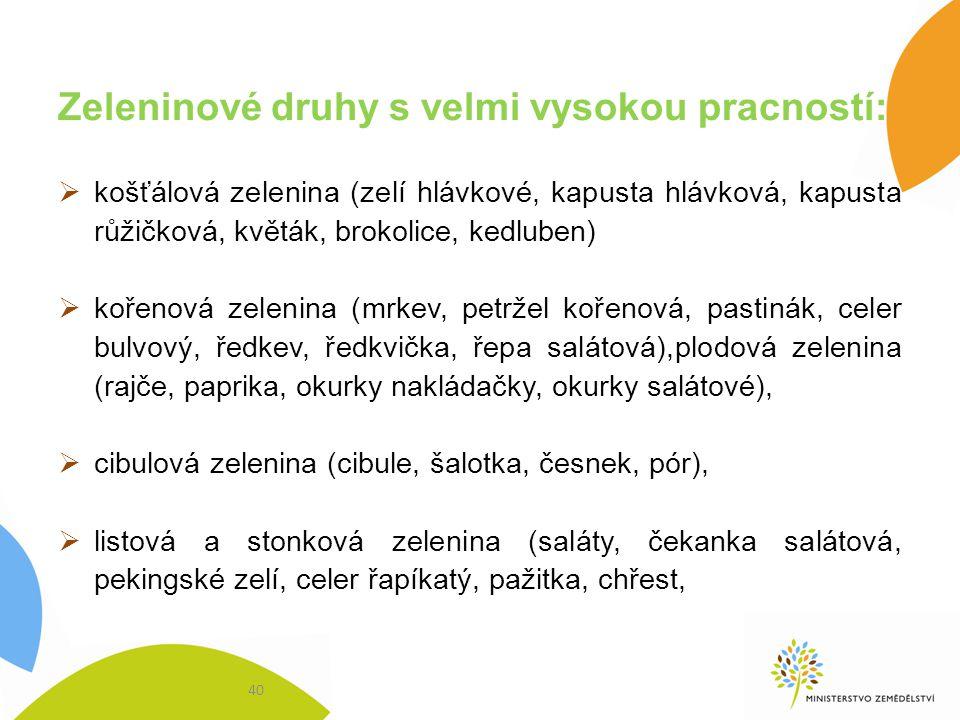 Zeleninové druhy s velmi vysokou pracností: