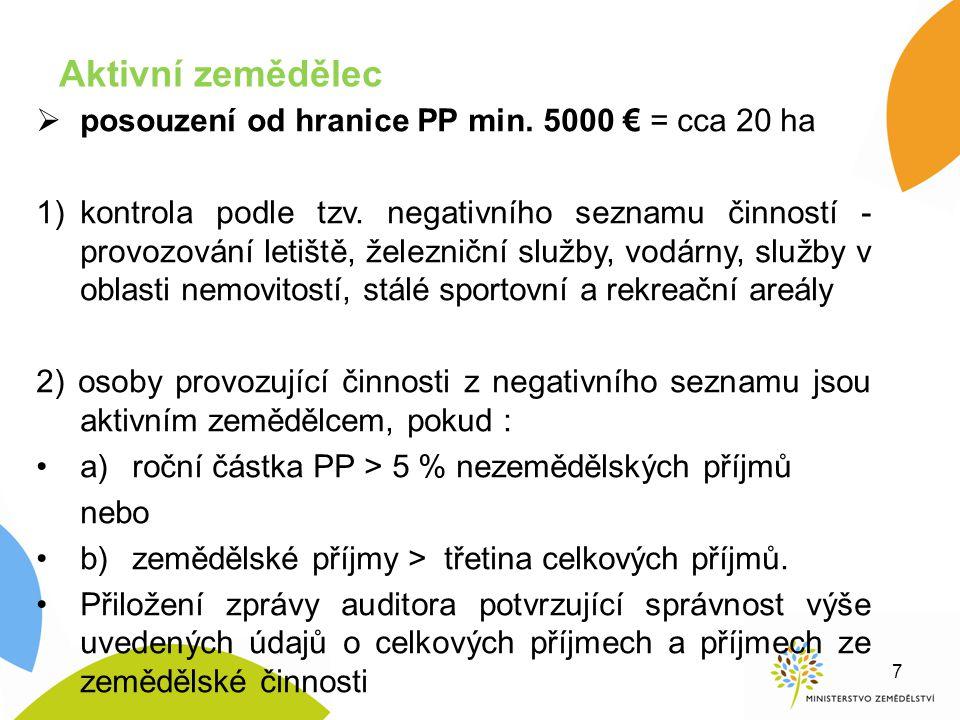 Aktivní zemědělec posouzení od hranice PP min. 5000 € = cca 20 ha