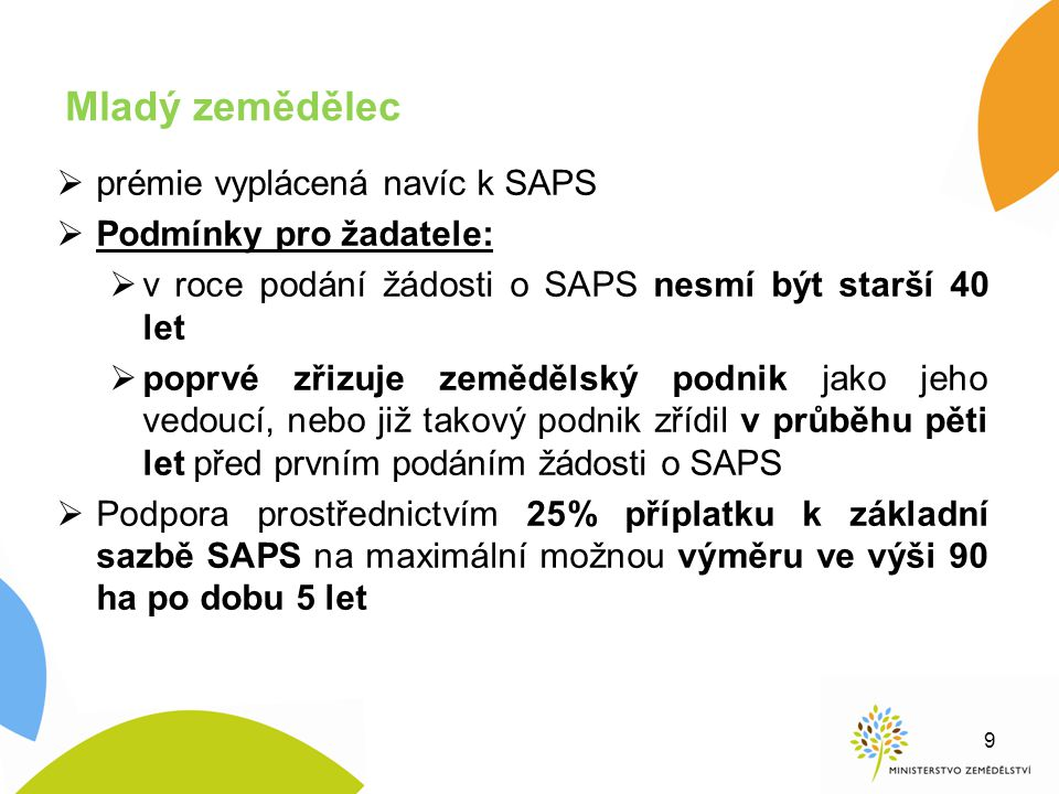 Mladý zemědělec prémie vyplácená navíc k SAPS Podmínky pro žadatele: