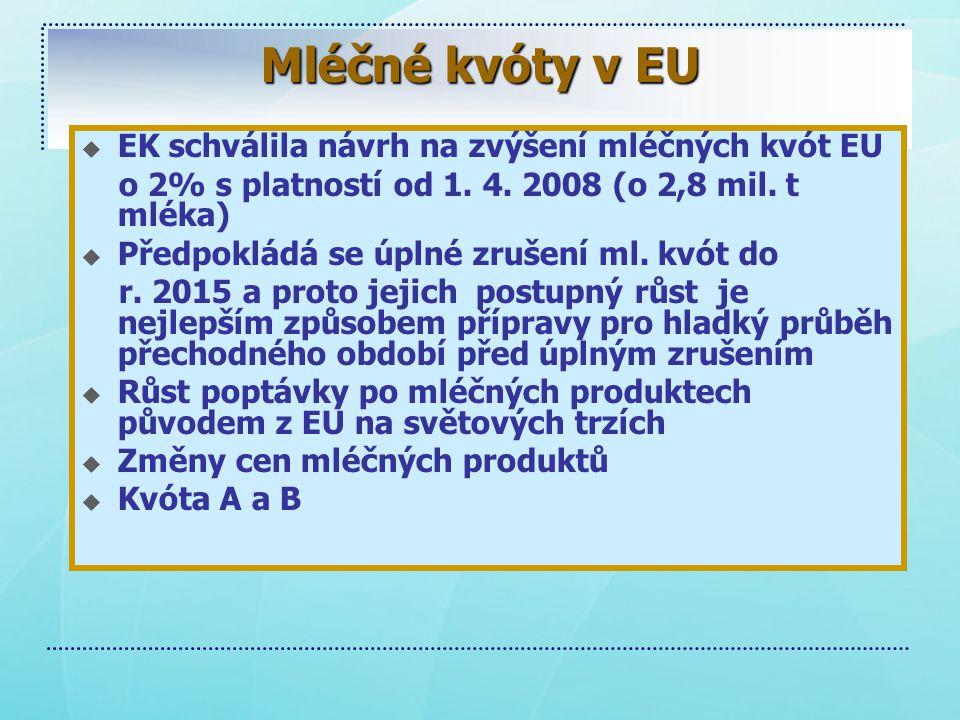 Mléčné kvóty v EU EK schválila návrh na zvýšení mléčných kvót EU