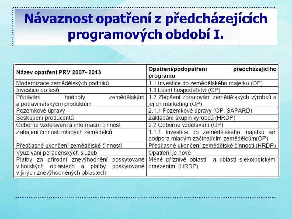 Návaznost opatření z předcházejících programových období I.
