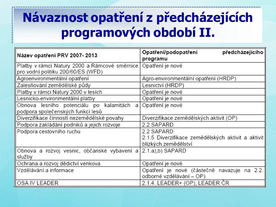 Návaznost opatření z předcházejících programových období II.