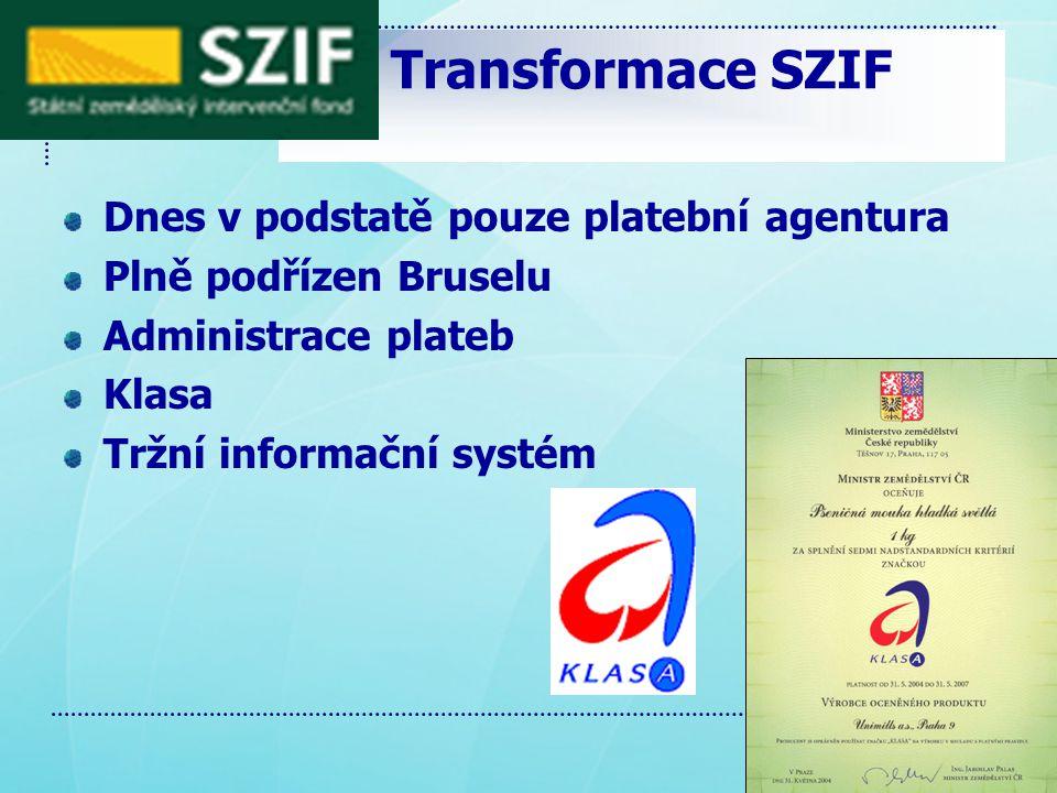 Transformace SZIF Dnes v podstatě pouze platební agentura