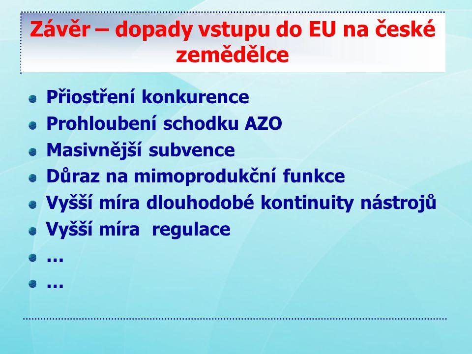 Závěr – dopady vstupu do EU na české zemědělce