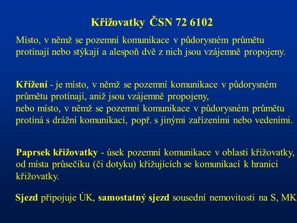 Křižovatky ČSN 72 6102 Místo, v němž se pozemní komunikace v půdorysném průmětu.