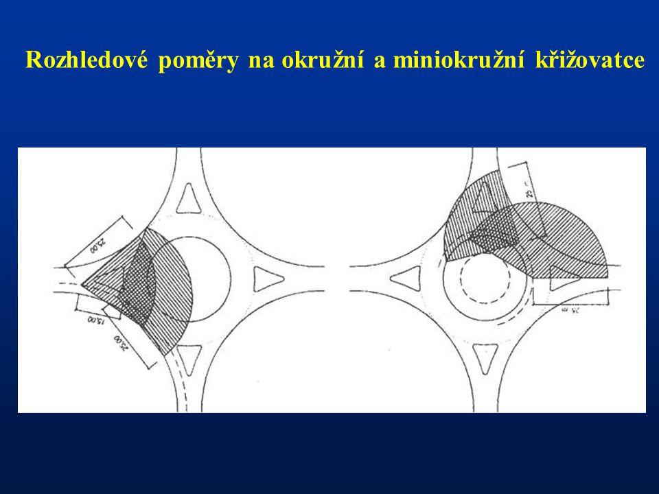 Rozhledové poměry na okružní a miniokružní křižovatce