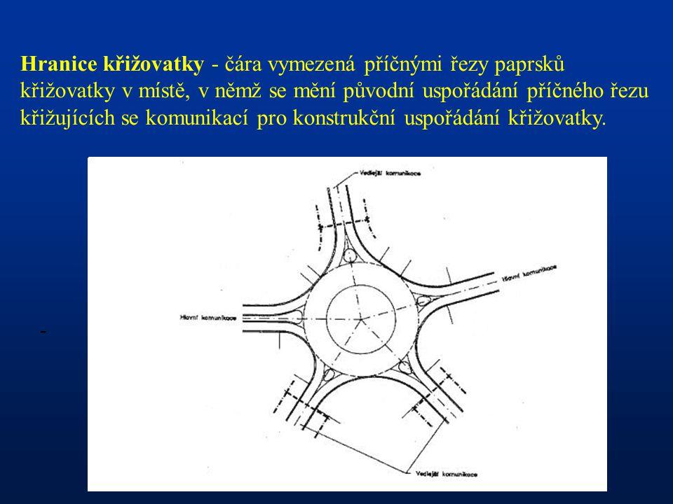 Hranice křižovatky - čára vymezená příčnými řezy paprsků