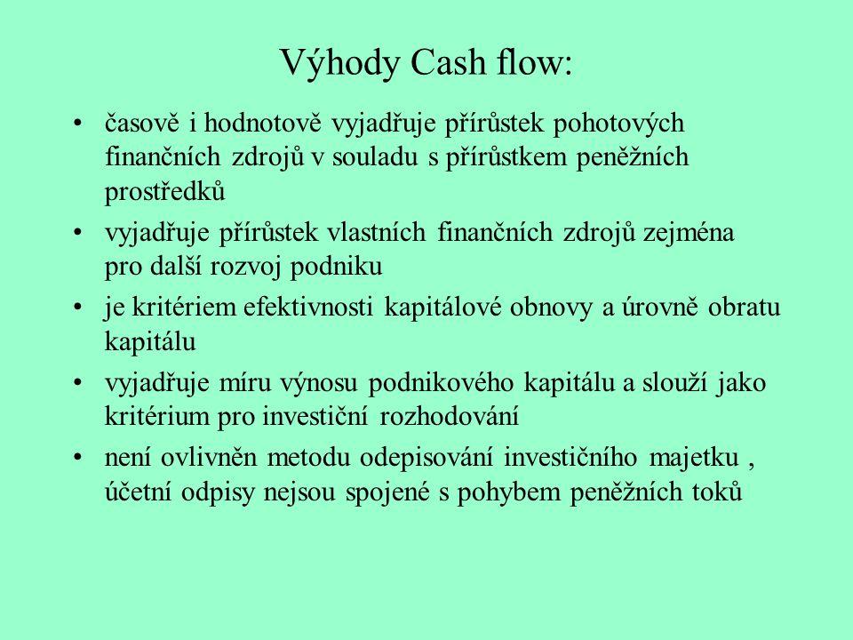 Výhody Cash flow: časově i hodnotově vyjadřuje přírůstek pohotových finančních zdrojů v souladu s přírůstkem peněžních prostředků.