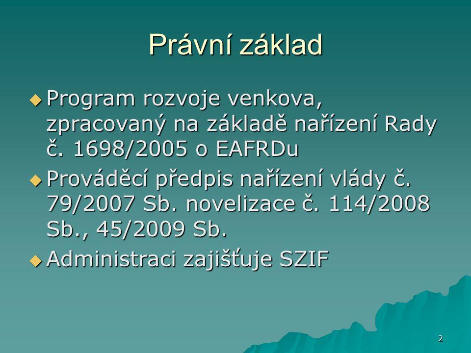 Právní základ Program rozvoje venkova, zpracovaný na základě nařízení Rady č. 1698/2005 o EAFRDu.