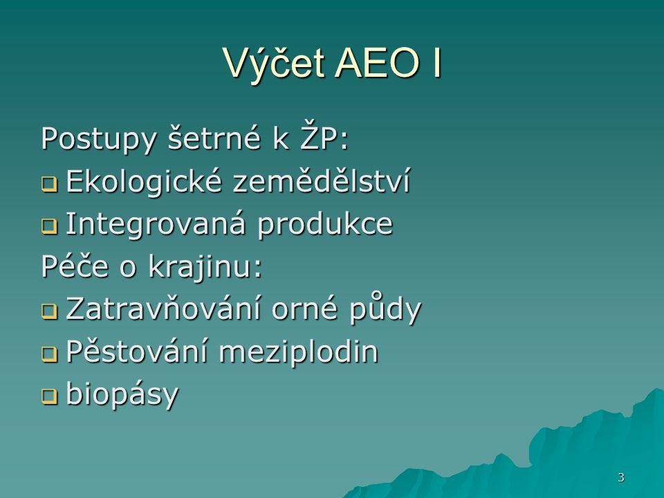 Výčet AEO I Postupy šetrné k ŽP: Ekologické zemědělství