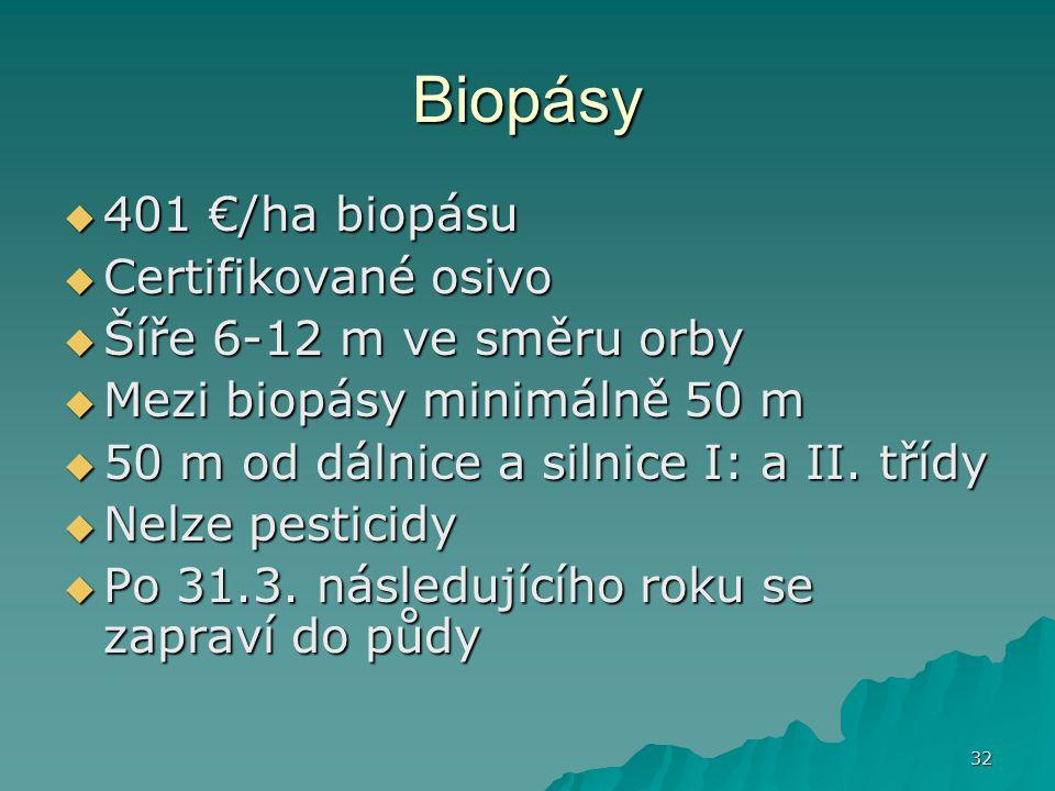 Biopásy 401 €/ha biopásu Certifikované osivo Šíře 6-12 m ve směru orby