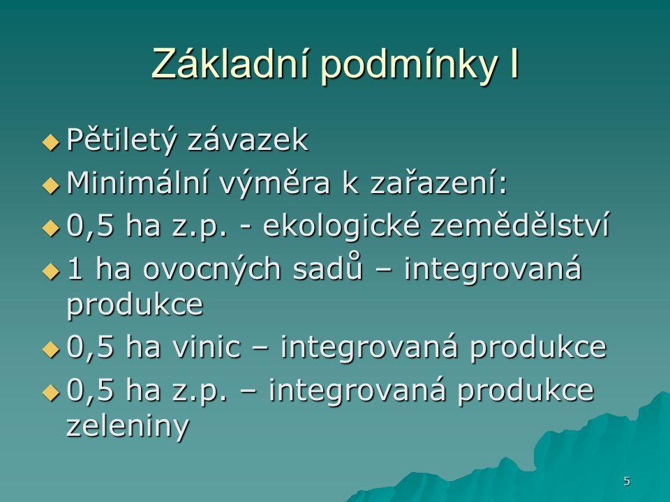 Základní podmínky I Pětiletý závazek Minimální výměra k zařazení: