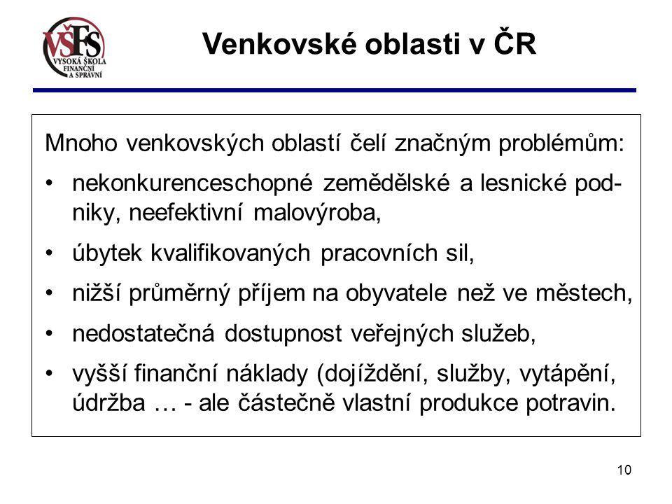 Venkovské oblasti v ČR Mnoho venkovských oblastí čelí značným problémům: