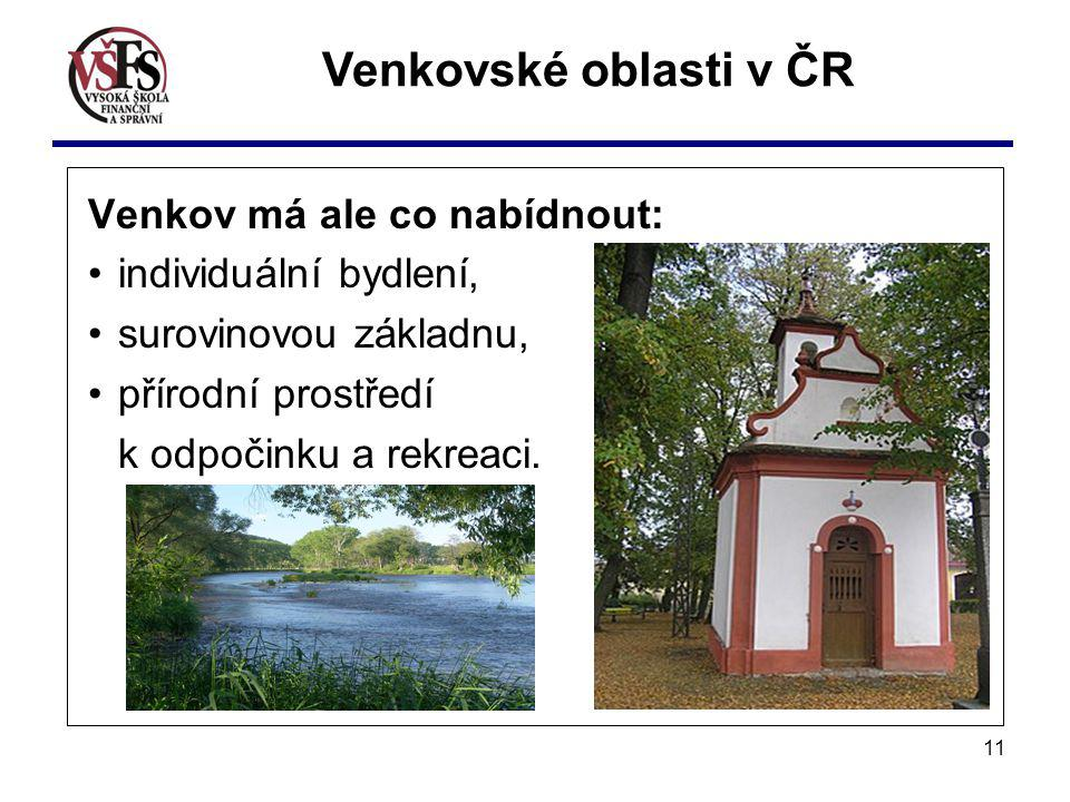 Venkovské oblasti v ČR Venkov má ale co nabídnout: