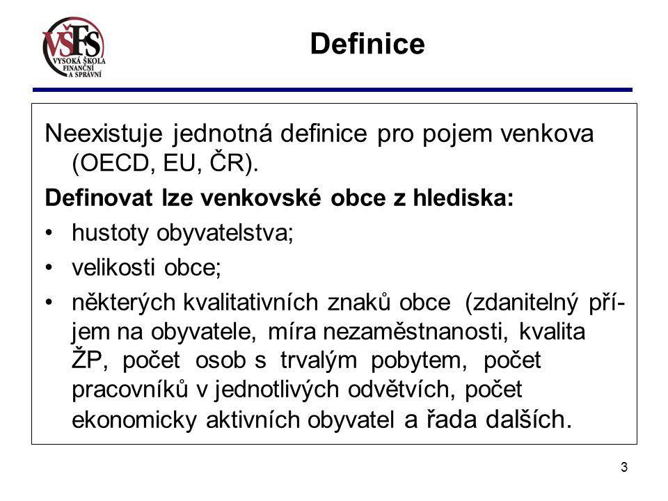 Definice Neexistuje jednotná definice pro pojem venkova (OECD, EU, ČR). Definovat lze venkovské obce z hlediska: