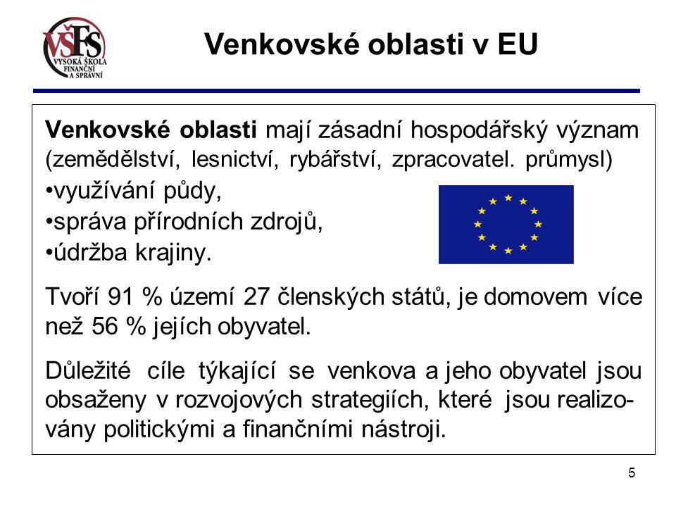 Venkovské oblasti v EU Venkovské oblasti mají zásadní hospodářský význam (zemědělství, lesnictví, rybářství, zpracovatel. průmysl)