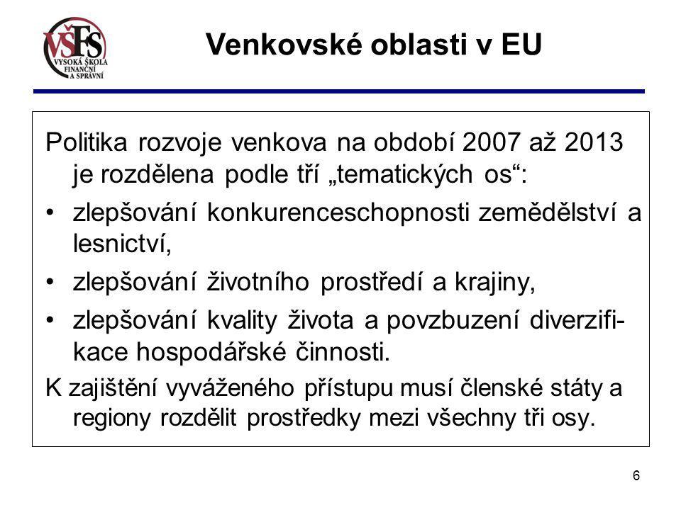 "Venkovské oblasti v EU Politika rozvoje venkova na období 2007 až 2013 je rozdělena podle tří ""tematických os :"