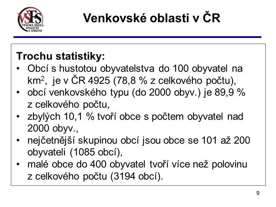 Venkovské oblasti v ČR Trochu statistiky: