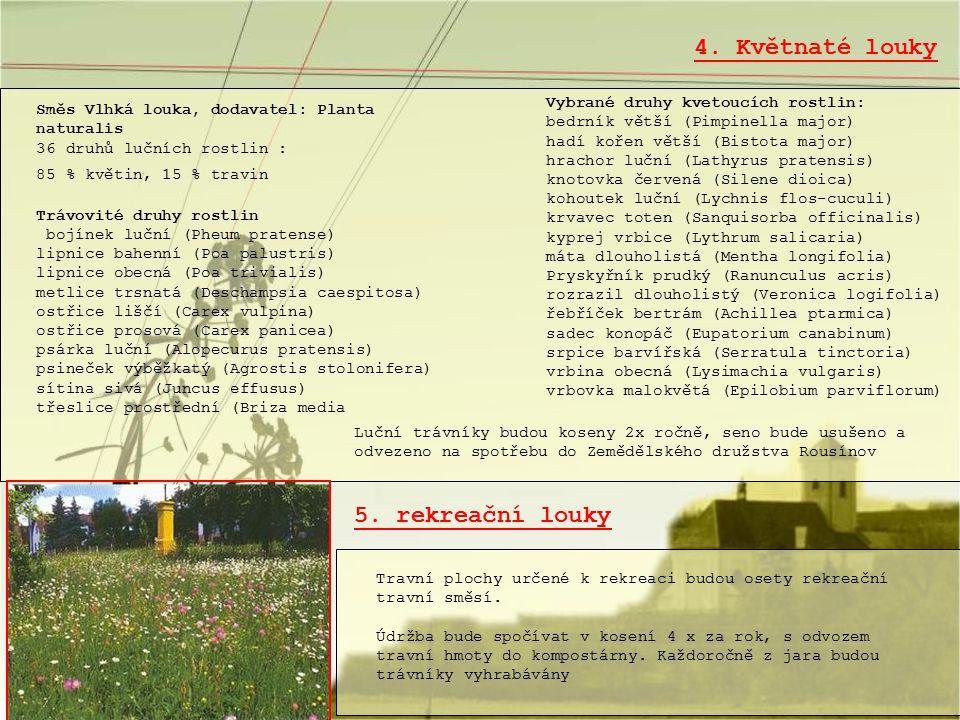 4. Květnaté louky 5. rekreační louky Vybrané druhy kvetoucích rostlin: