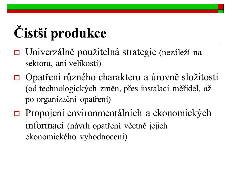 Čistší produkce Univerzálně použitelná strategie (nezáleží na sektoru, ani velikosti)