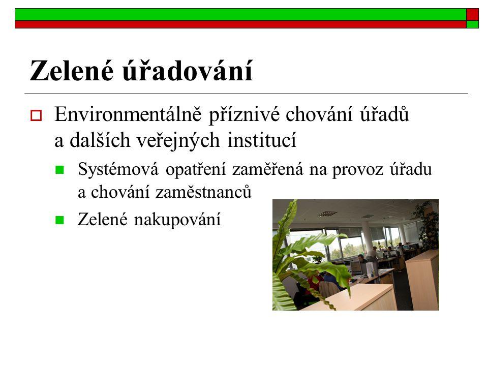 Zelené úřadování Environmentálně příznivé chování úřadů a dalších veřejných institucí.