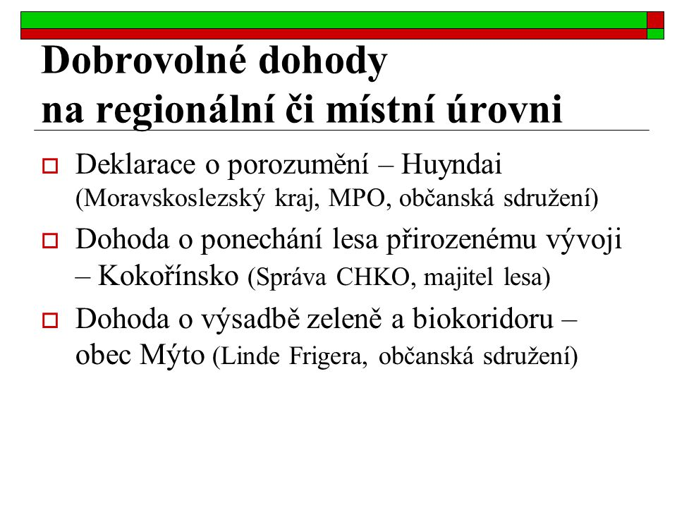 Dobrovolné dohody na regionální či místní úrovni