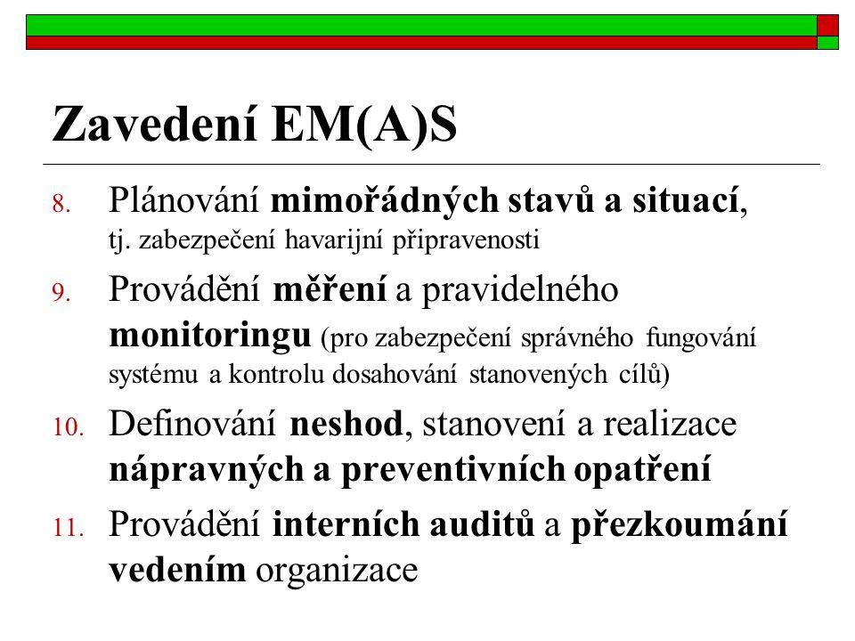 Zavedení EM(A)S Plánování mimořádných stavů a situací, tj. zabezpečení havarijní připravenosti.