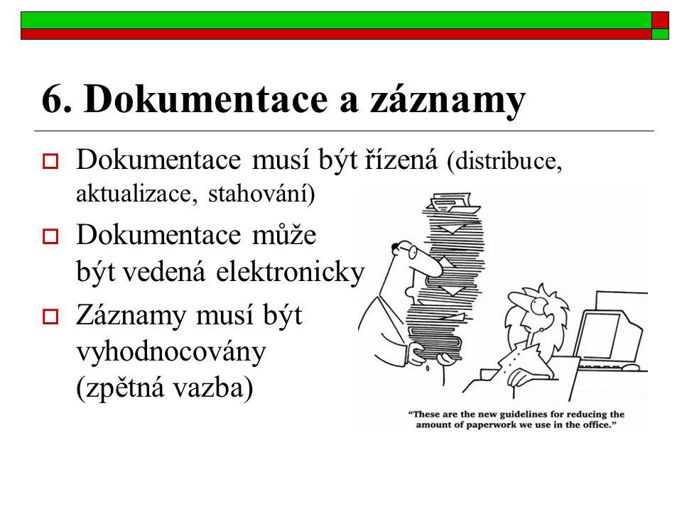 6. Dokumentace a záznamy Dokumentace musí být řízená (distribuce, aktualizace, stahování) Dokumentace může být vedená elektronicky.