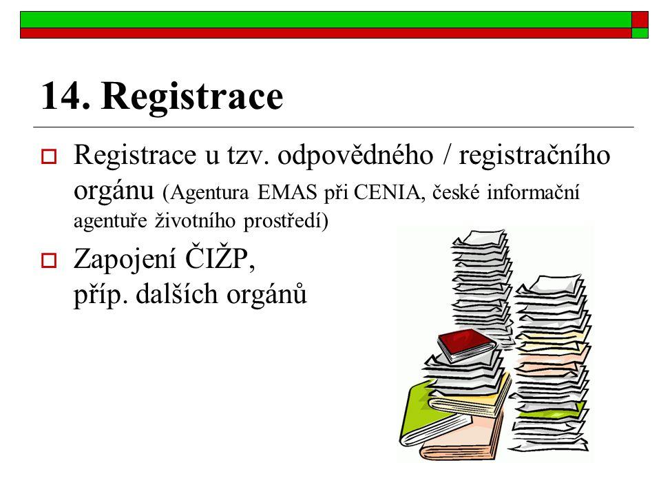 14. Registrace Registrace u tzv. odpovědného / registračního orgánu (Agentura EMAS při CENIA, české informační agentuře životního prostředí)