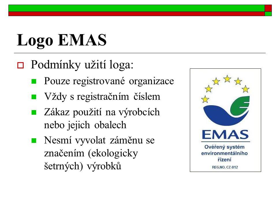Logo EMAS Podmínky užití loga: Pouze registrované organizace