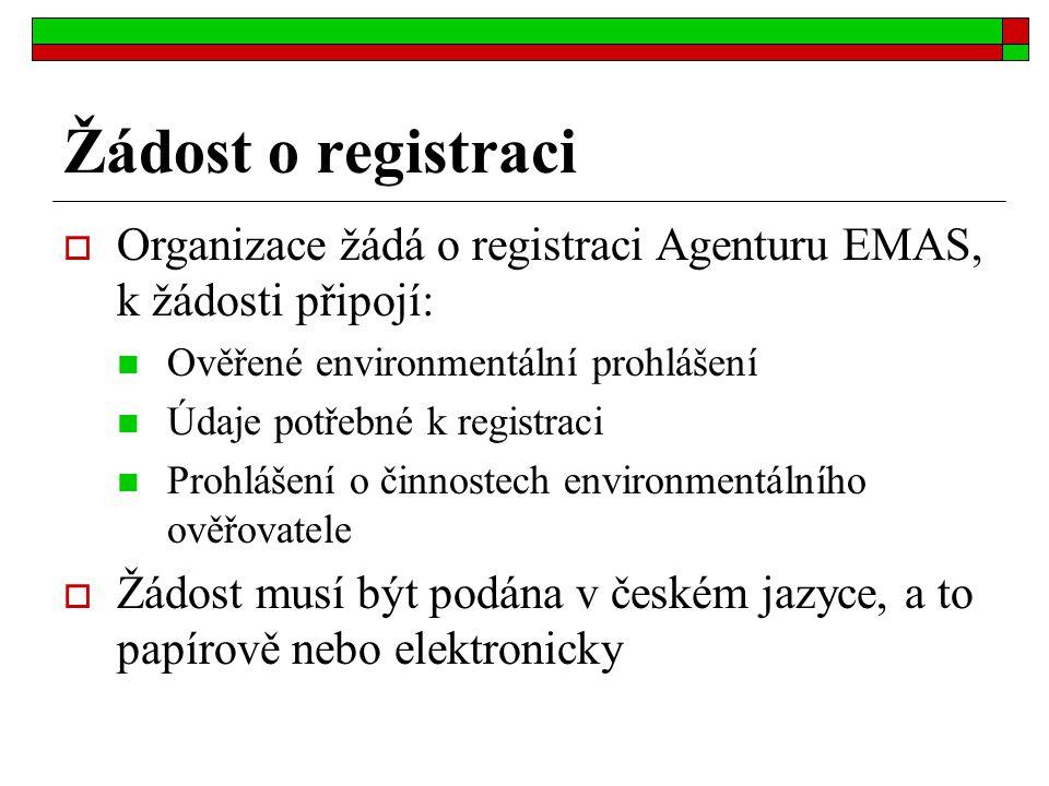 Žádost o registraci Organizace žádá o registraci Agenturu EMAS, k žádosti připojí: Ověřené environmentální prohlášení.