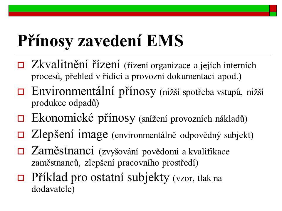 Přínosy zavedení EMS Zkvalitnění řízení (řízení organizace a jejích interních procesů, přehled v řídící a provozní dokumentaci apod.)