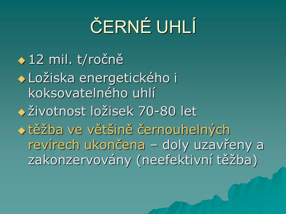 ČERNÉ UHLÍ 12 mil. t/ročně Ložiska energetického i koksovatelného uhlí