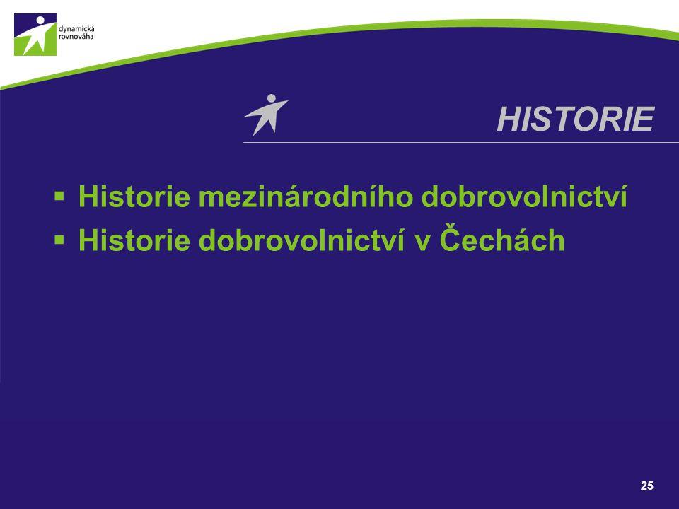 HISTORIE Historie mezinárodního dobrovolnictví