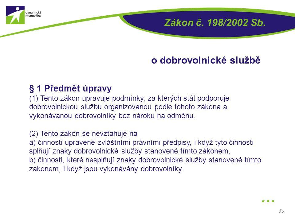 … Zákon č. 198/2002 Sb. o dobrovolnické službě § 1 Předmět úpravy