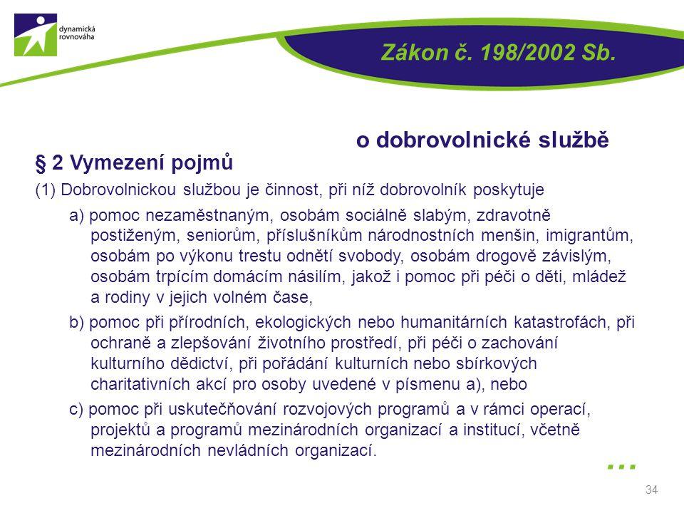 … Zákon č. 198/2002 Sb. o dobrovolnické službě § 2 Vymezení pojmů