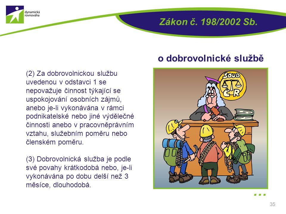 … Zákon č. 198/2002 Sb. o dobrovolnické službě