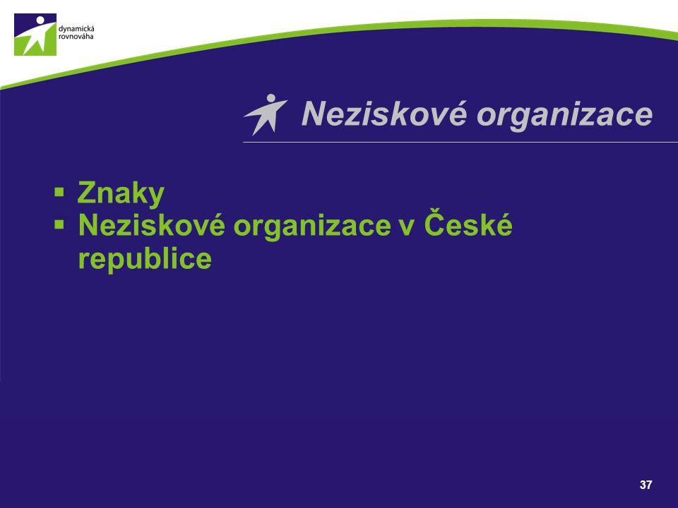 Neziskové organizace Znaky Neziskové organizace v České republice 37